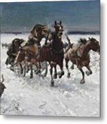 Wolves In Pursuit By Alfred Wierusz-kowalski 1849-1915 Metal Print