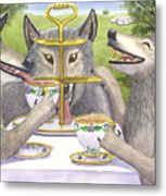 Wolves Tea Party Metal Print