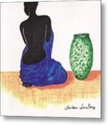 Woman And A Ginger Jar Metal Print