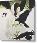 Woman And Birds Metal Print