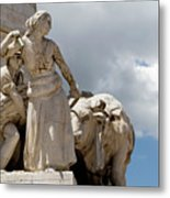 Woman And Bull, Marquis De Pombal Monument Metal Print