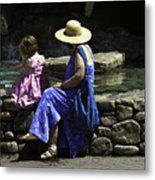 Woman And Child At Pond Metal Print