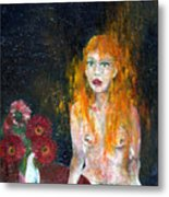 Woman And Flowers  Metal Print
