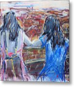 Woman And Girl In Nature Metal Print