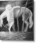 Woman And Horse And River Metal Print