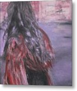 Woman And Scarf Metal Print