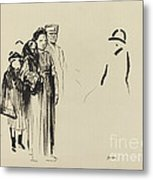 Woman And Two Children With German Soldiers Metal Print