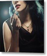 Woman Applying Lipstick Metal Print