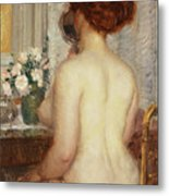 Woman At A Dressing Table Metal Print