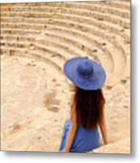 Woman At Greco-roman Theatre At Kourion Archaeological Site In C Metal Print