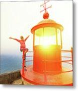 Woman At Nazare Lighthouse Metal Print