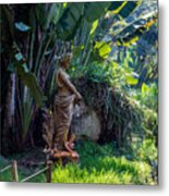 Woman At The Fountain Metal Print