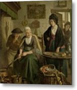 Woman Baking Pancakes Metal Print