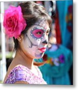 Woman Beautiful Day Of The Dead  Metal Print
