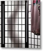 Woman Behind Shoji Screen Metal Print