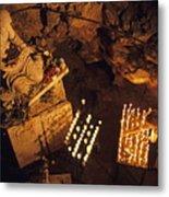 Woman Burning Candle At Troglodyte Sainte-marie Madeleine Holy Cave Metal Print by Sami Sarkis