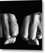 Woman Clenching Two Hands Into Fists In A Fit Of Aggression Metal Print