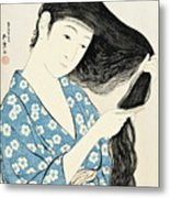 Woman Combing Her Hair Kami Sukeru Onna Metal Print