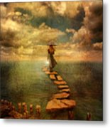Woman Crossing The Sea On Stepping Stones Metal Print by Jill Battaglia