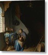 Woman Eating Porridge Metal Print