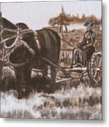 Woman Haying Historical Vignette Metal Print