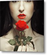 Woman Holding A Red Rose Metal Print
