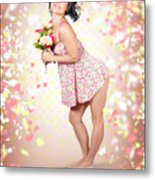 Woman Holding Flowers In Hands. Spring Celebration Metal Print