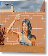 Woman Holding The Sands Of Time Metal Print