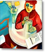 Woman In A Cafe Metal Print