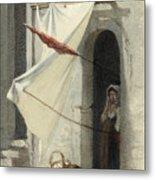 Woman In A Doorway. Rome Metal Print