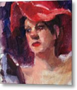Woman In A Floppy Red Hat Metal Print