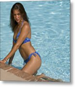 Woman In A Pool. Metal Print