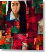 Woman In Abstract 454 Metal Print
