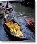 Woman In Banana Boat Metal Print