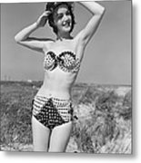 Woman In Bikini, C.1950s Metal Print