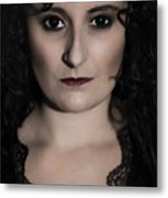 Woman In Black Metal Print