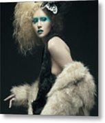 Woman In Black Avant-garde Attire With Butterfly Headdress Metal Print