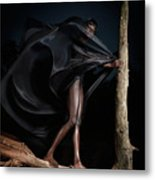 Woman In Black Flying Outfit Metal Print