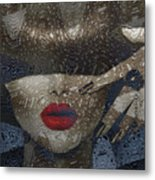 Woman In Blue Red Passion Metal Print