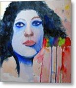 Woman In Blue Metal Print