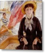 Woman In Boat With Canoeist Metal Print