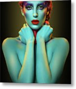 Woman In Cyan Body Paint With Curly Hairstyle Metal Print