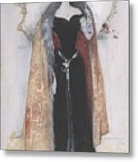 Woman In Evening Clothes And Cape Metal Print