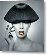 Woman In Fashionable Bangs Metal Print