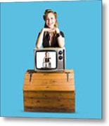 Woman  In Front Of Tv Camera Metal Print by Jorgo Photography - Wall Art Gallery