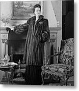 Woman In Fur Coat, C.1940s Metal Print