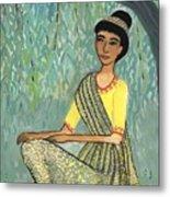 Woman In Grey And Yellow Sari Under Tree Metal Print