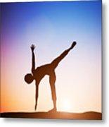 Woman In Half Moon Yoga Pose Meditating At Sunset Metal Print