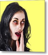 Woman In Horror Makeup Metal Print