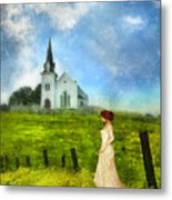 Woman In Lace By A Country Church Metal Print